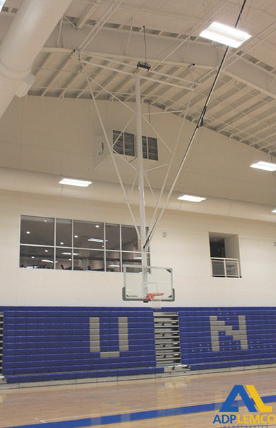 ADP Bent Single Post Front-Braced Front-Folding Ceiling Hung Basketball Backstop P