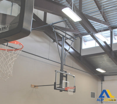 ADP Single Post Wall-Braced Stationary Ceiling Hung Basketball Backstop P