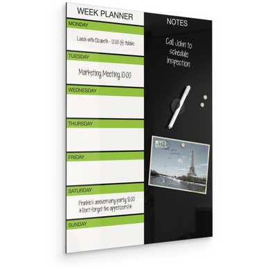 Black Magnetic Glass Dry Erase Weekly Planner P