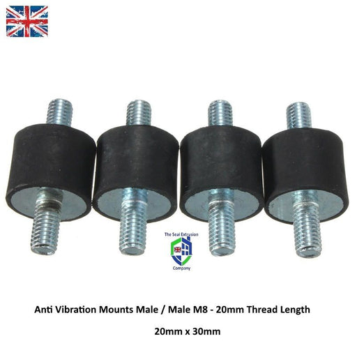 TESC205-12110 M8 Anti Vibration Rubber Bobbin Mounts Male/Male 30mm x 20mm Dia Long - The Seal Extrusion Company LTD