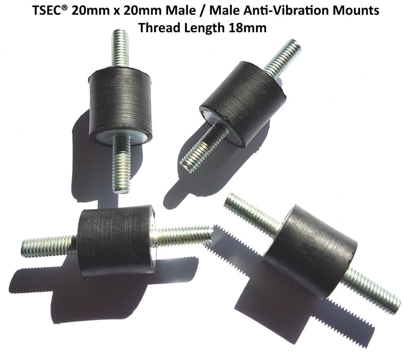 TSEC-2020M6 20mm x 20mm M/Male Anti Vibration Mounts (Packs 4) - The Seal Extrusion Company LTD