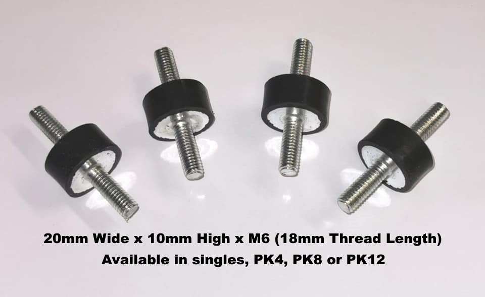 Anti Vibration Mounts - Male Male Thread - 20mm x 10mm x M6 - The Seal Extrusion Company LTD