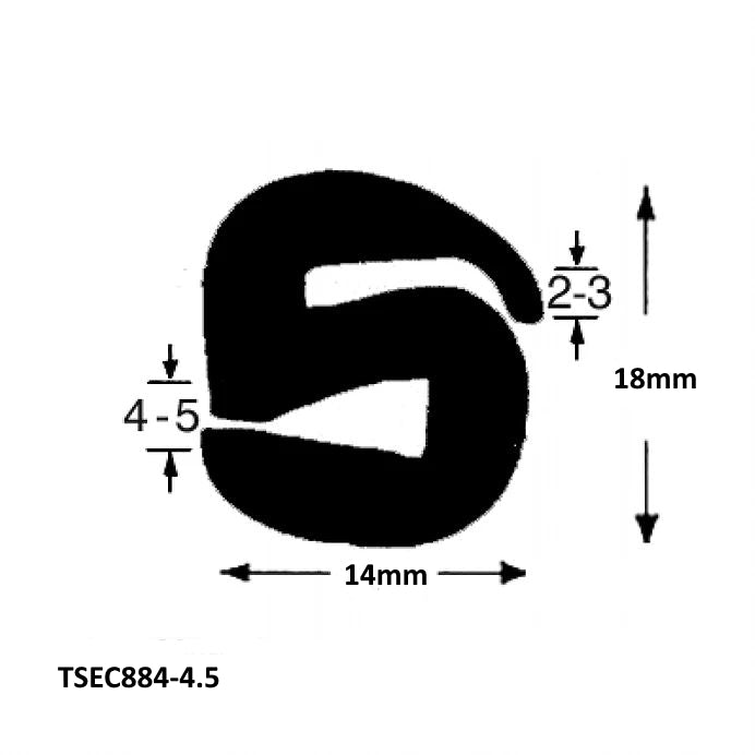 TSEC884-4.5 S TYPE GLAZING SEAL - The Seal Extrusion Company LTD