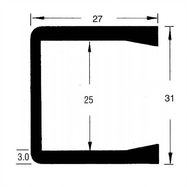 TSEC1538 Large Square Channel EPDM Rubber (3mtr Lengths) - The Seal Extrusion Company LTD