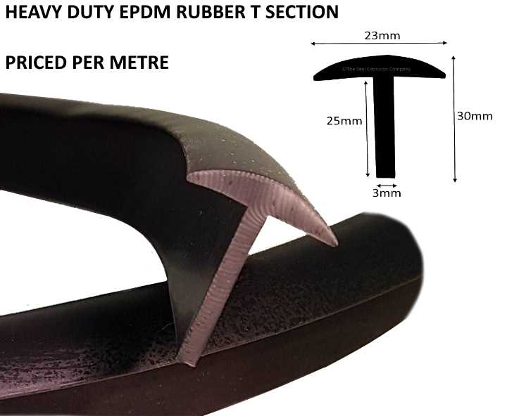 TSEC1566 'T' Shaped Rubber Section - The Seal Extrusion Company LTD