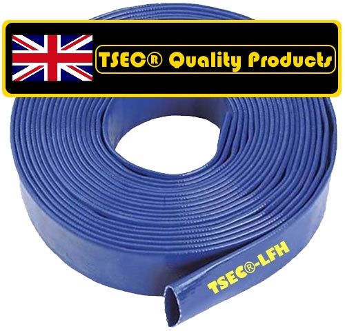 TSEC-LFB Layflat Delivery Hose - Blue, 100 Metre Coils - The Seal Extrusion Company LTD
