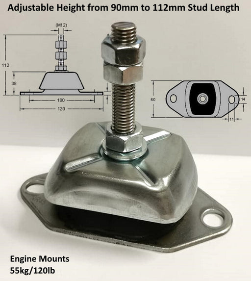 Marine Flexible Engine Mount 55KG, 12mm Stud, Volvo Penta, Mercruiser, Beta - The Seal Extrusion Company LTD