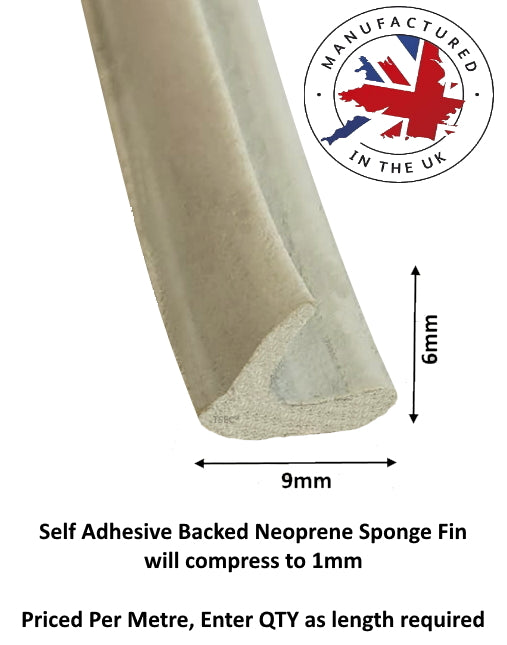 TSEC-KRS16 - 9mm x 4mm Self Adhesive Finned Sponge Seal