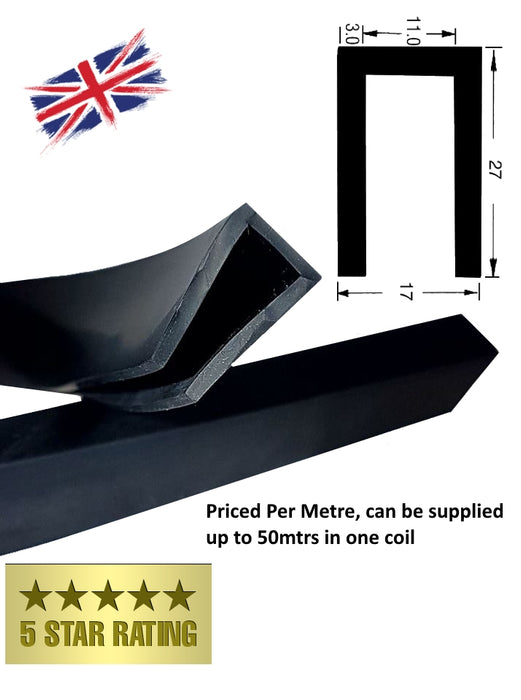 TSEC1701 Black solid  EPDM Square Channel - The Seal Extrusion Company LTD