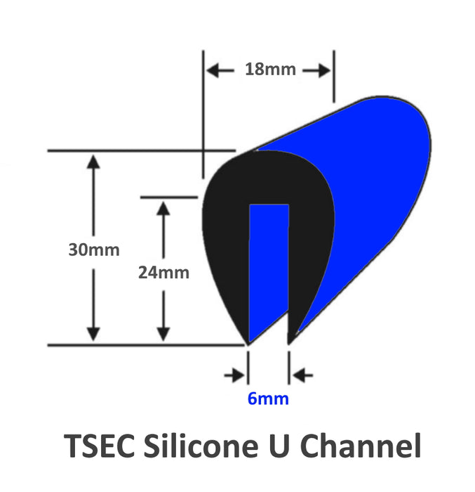 Silicone U Channel 30mm x 18mm Fits up to 6mm