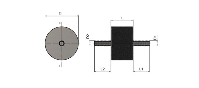 TSEC-710-302055A2 Stainless Steel Anti Vibration Mounts - Male Male Thread (PK 10) - The Seal Extrusion Company LTD