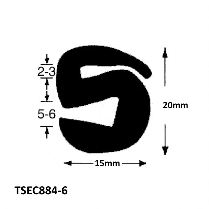 TSEC884-6 S TYPE GLAZING SEAL - The Seal Extrusion Company LTD