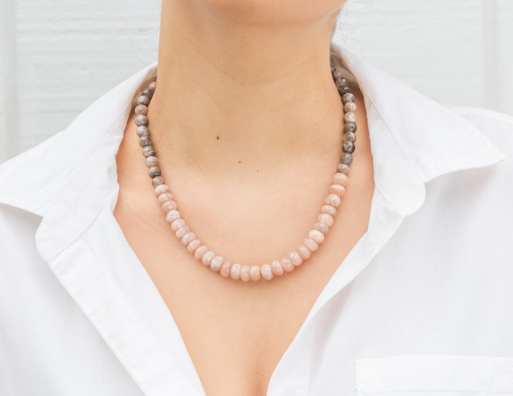 Isolde- Peach Moonstone and Grey Agate