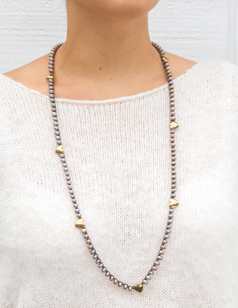 Posey-Khaki Donut Pearls with Pyrite Hearts