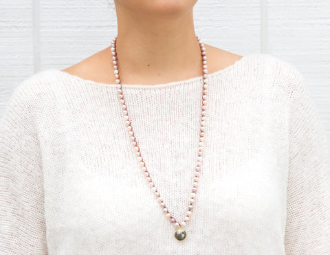 Rafaela- Variegated Pink Pearls with Pyrite Coin