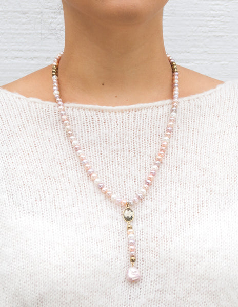 Willa - Variegated Pink Pearl Y-Neck