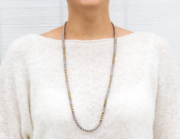 Selma- Khaki Donut Pearls with Golden Pyrite