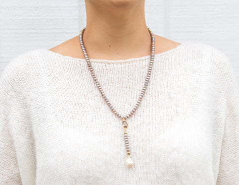 Willa- Khaki Donut Pearl Y-neck