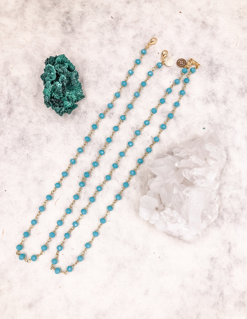 Mask Chain - Teal - Gold