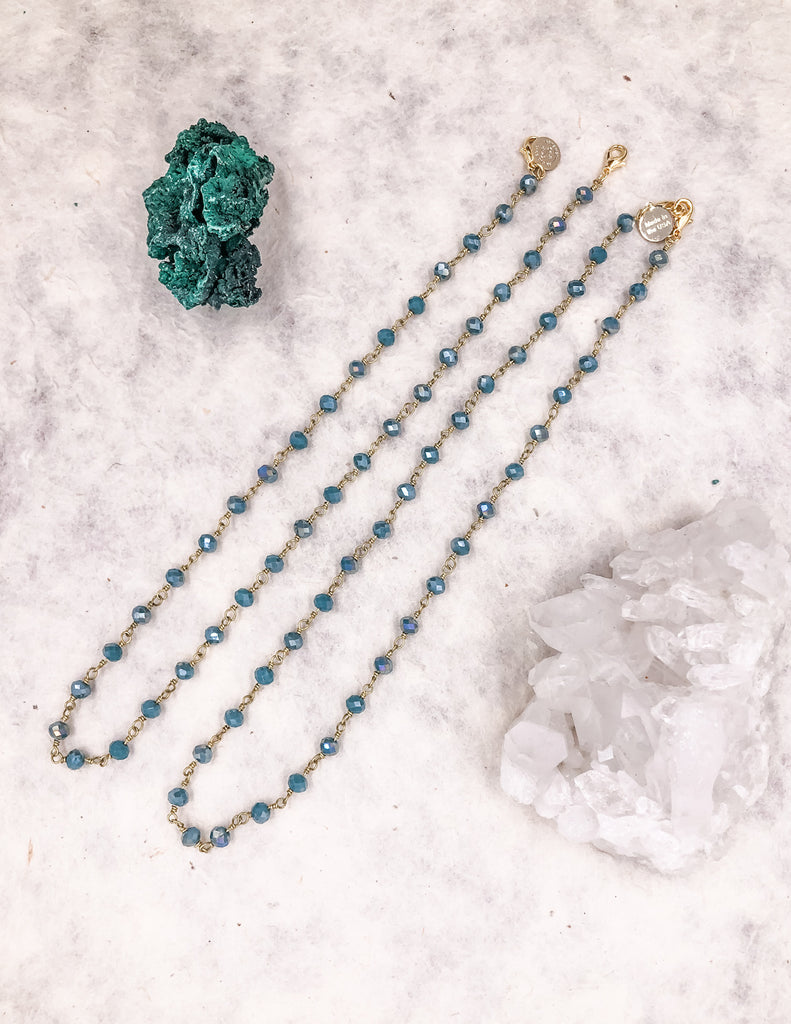 Mask Chain - Teal Green - Gold
