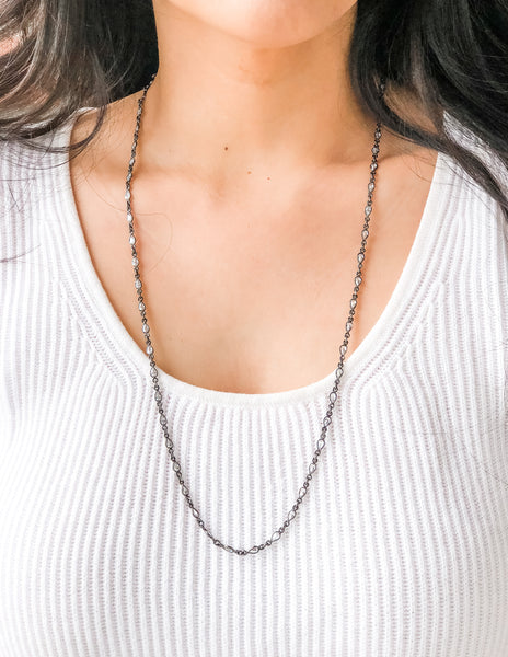 Celia - Black Sterling CZ Chain