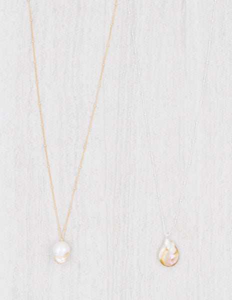 Nadia - Pearl Station Chain Necklace