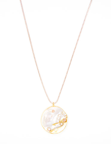 Pearl Medallion on Rose-Gold Sterling Silver Snake Chain