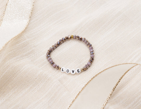 Letter Bracelet - Love - Purple Crystals
