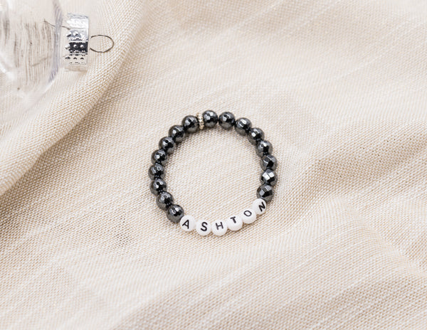 Letter Bracelet - Custom - Faceted Hematite