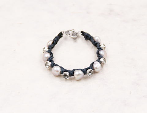 Clear Crystal & Silver Pearl Woven Bracelet