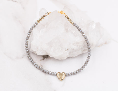 Summer - Grey Crystal Anklet