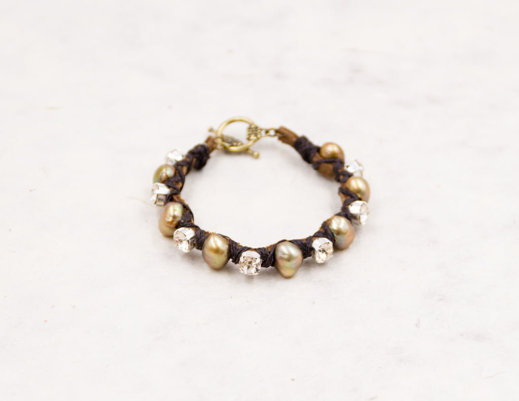 Clear Crystal & Golden Pearl Woven Bracelet