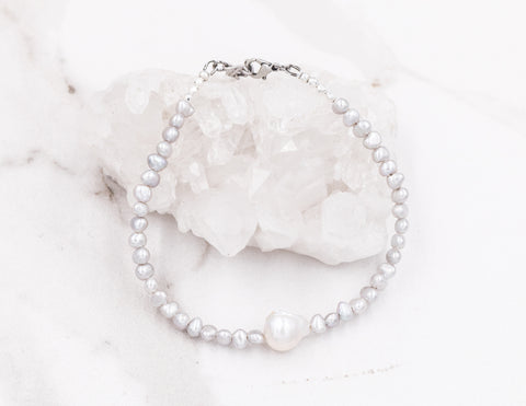 Summer - Silver Pearl Anklet