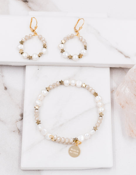 Star - White Pearl Bracelet & Earrings