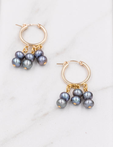 Dalia - Peacock Pearl Earrings