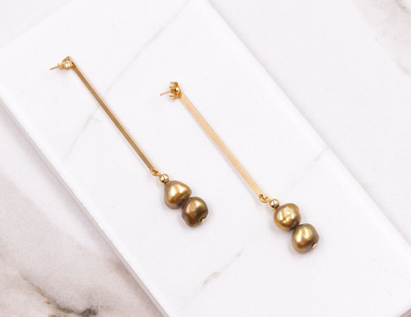 Theresa - Petite Golden Pearl Earrings