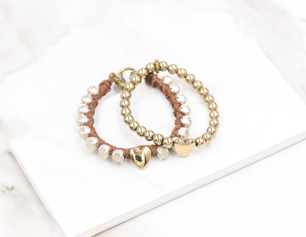 Pyrite Heart Bracelet Set