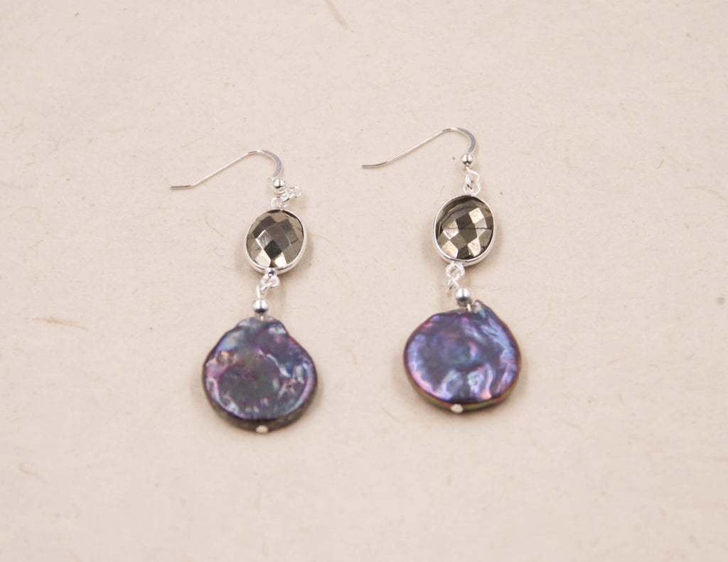 Lola- pyrite-purple coin earrings