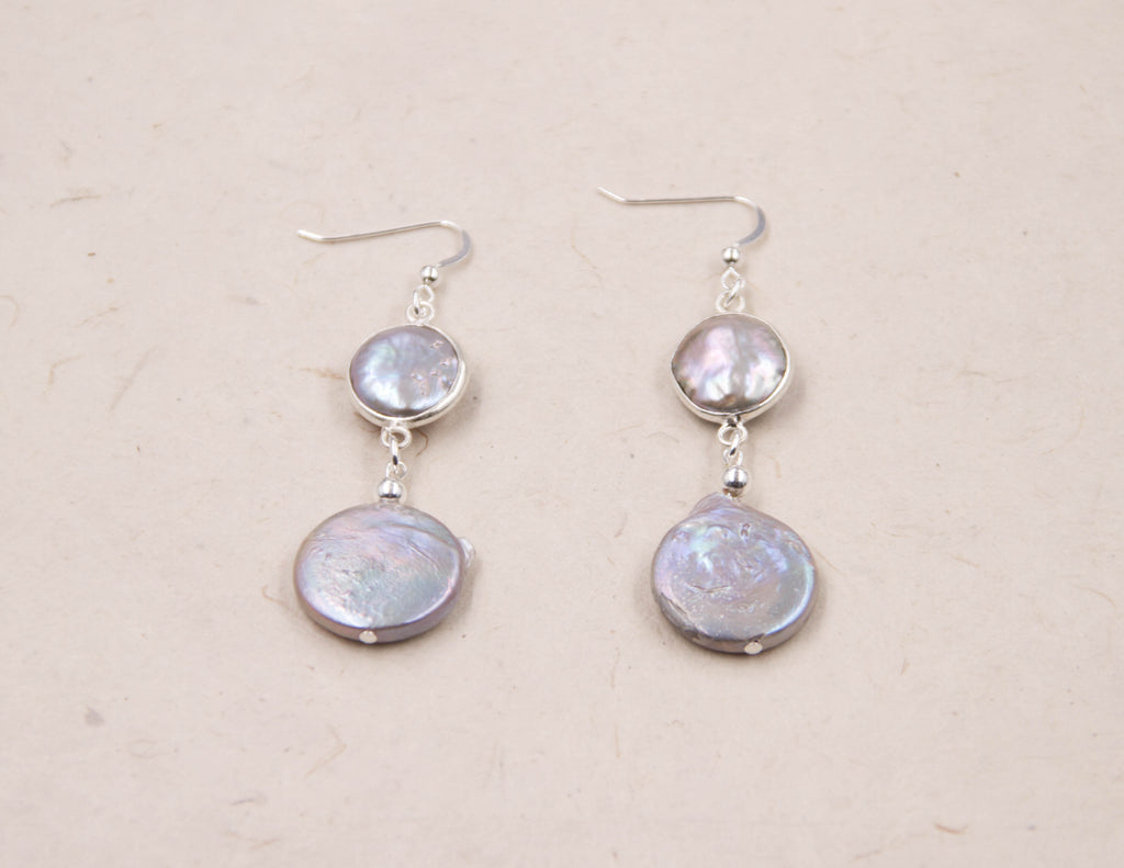 Lola- silver pearl-coin earrings