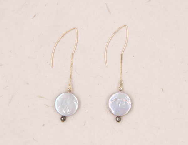 Eva - White Coin Pearl Earrings