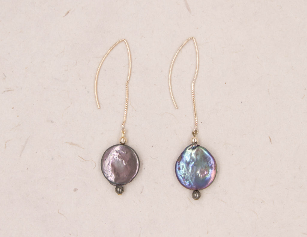 Eva - Peacock Coin Pearl Earrings