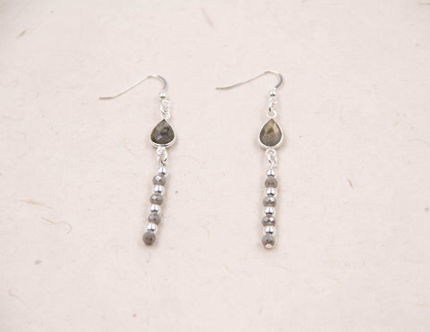 Polly-labradorite greighe earrings