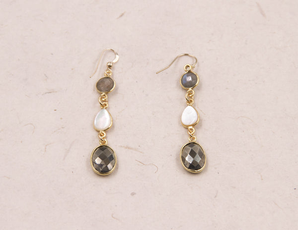 Larissa - Golden Grey Earrings