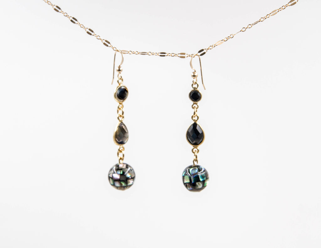 Selene - Onyx and Abalone Earrings