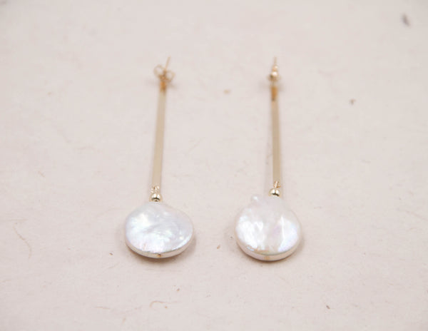 Theresa-white coin pearl earrings