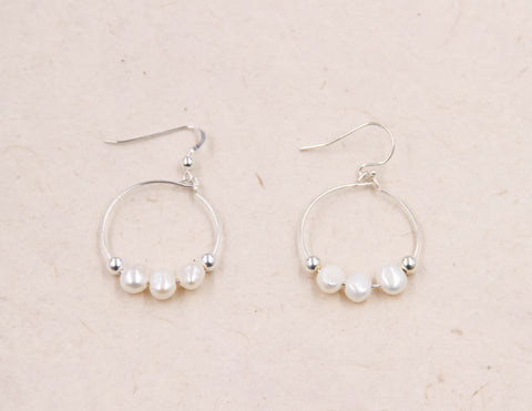 Claire - Small White Pearl Hoop Earrings