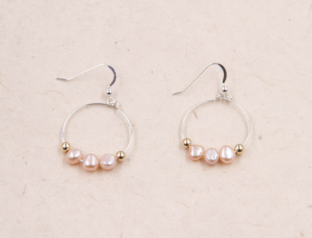 Claire - Small Pink Pearl Hoop Earrings