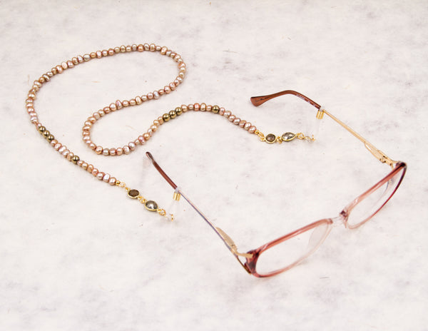 Eyeglass Chain - Golden & Pink Pearl
