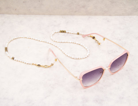 Eye Glass Chain - White Rice Pearl