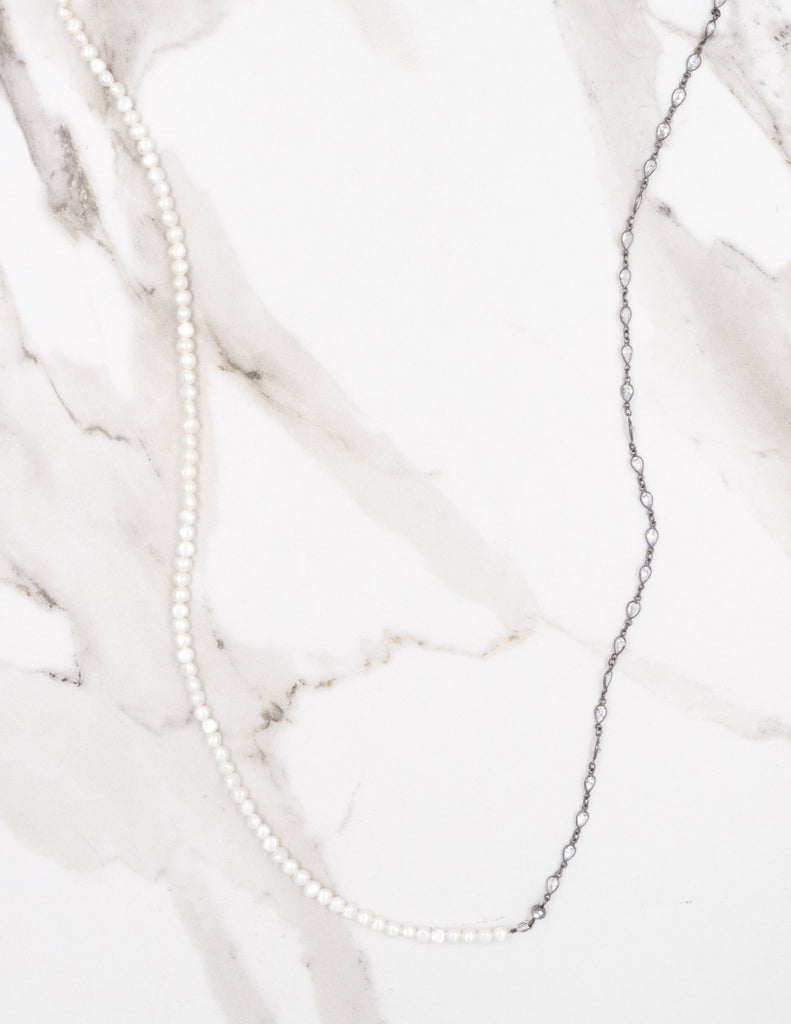 Bezel Chain & Pearl Necklace